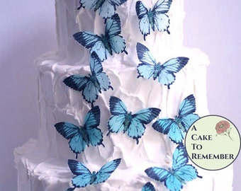 12 large edible butterflies for cake decorating, vintage  butterflies Wafer paper butterflies, wedding cake toppers, waferpaper