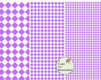 Digital download--Printable purple diamonds wafer paper file for cake decorating or cupcake decorating