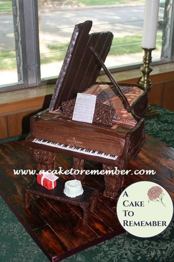 Sugar craft tutorial for a grand piano cake. PDF file to download. Piano cake tutorial, cake decorating tutorial