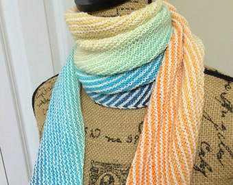 Knit scarf, Multi-colored scarf, Hand Knit Scarf, Light-Weight Scarf, Wool Scarf, Womens Gift, Gradient Scarf