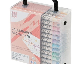 Zig Memory System Calligraphy Dual-Tip Markers - 48 Pens - Narrow 2.0mm & Broad 5.0mm Ends - Photo Safe Acid Free Light Fast (276691)