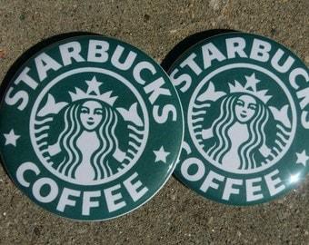 Starbucks Coffee Mermaid Logo 2.25 inch pinback button pins badges set of 2