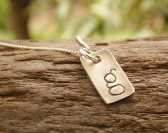 Dainty Initial Necklace Hand Stamped Monogram Sterling Silver Tag