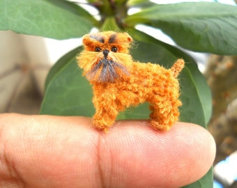 Brown Brussels Griffon  - Tiny Crochet Mini Amigurumi Dog Stuff Animal - Made To Order