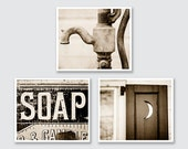 Vintage Sepia Bathroom Decor, Sepia Bathroom Print or Canvas Wrap Set, Sepia Bath Set, Rustic Bathroom Decor Set of 3 Prints.