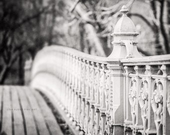 Black and White Photography, NYC Art, New York City Print, Central Park Bridge Photograph, Urban Decor, NYC Architecture.