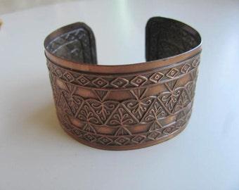 Vintage Copper Cuff Bracelet Art Deco Style Design Copper Jewelry