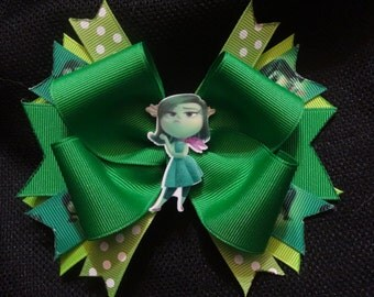 Inside out inspired bow, 5 inch disgust hairbow
