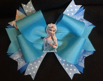 Disney Frozen inspired hairbow, Elsa large 5 inch boutique bow
