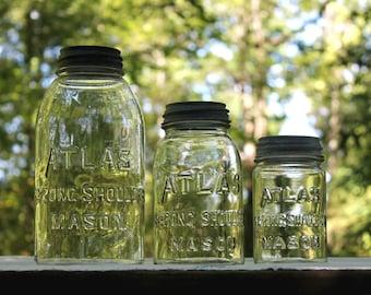 3 ATLAS STRONG SHOULDER Mason Jars with Atlas Zinc Lids - Vintage Half Gallon, Quart, & Pint Fruit Canning Jars - Insurance with Shipping