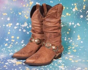 1980's Rocker Style Cowboy Boots Women's Size 8
