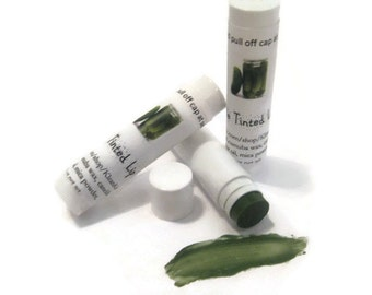Dill Pickle Tinted Lip Balm, NEW LOWER PRICE,  Green Lip Balm, creamy lip balm, Pickle flavor