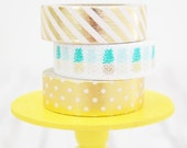 Gold Foil Pineapple Washi Tape Set Champagne Stripes / Pineapples / Champagne Dots