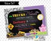 Printable Joint Birthday Party Invitation Trucks and Tiaras - Digital File