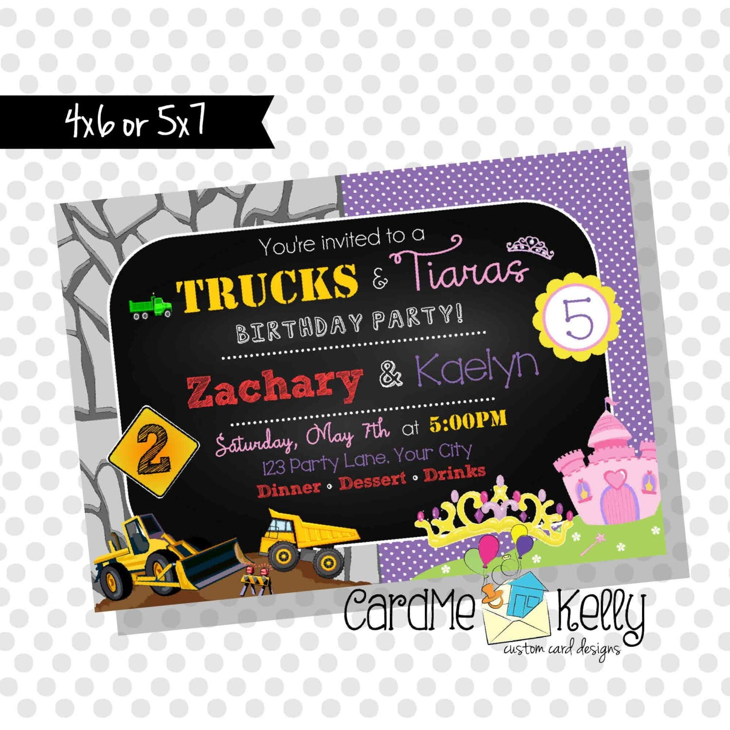 Printable Joint Birthday Party Invitations ~ Printable joint birthday party invitation trucks and tiaras