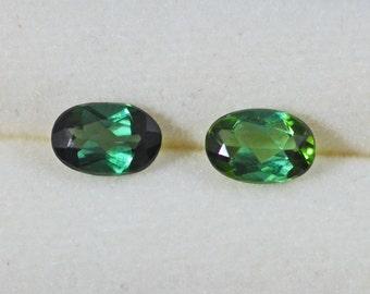 Blue Green Tourmalines Two 6x4mm Ovals