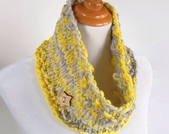 Chunky Yellow Scarf, Infinity Scarf, Merino Scarf, Knitted Women's Scarf, Women's Neckwarmer, Puffy Scarf, Yellow and Grey, Knit Infinity