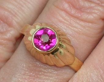 Soviet Ring, 583 Rose Gold & Rubelite. High Bezel Setting, Retro Modern Design. Kiev Ukraine. Size 6 3/4