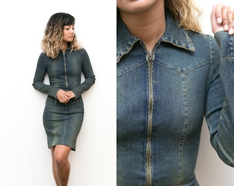 90s Denim Dress / Collared Denim Dress / Long Sleeve Dress / Bodycon Fitted Jean Dress Tight XS Collar Extra Small Zip Up Dress Knee Length