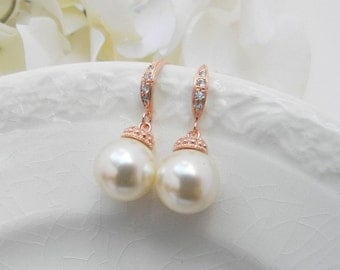 Rose Gold Pearl Bridesmaid Earrings / Pearl Dangle Earrings/ Bridesmaid Gift Ideas /Bridesmaid Earrings/ Rose Gold Pearl Bridesmaid Earrings