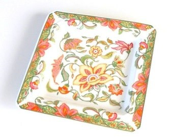 ON SALE Italian Porcelain Plate Vintage Orange Decorative Plate Hand Painted Square Floral Plate