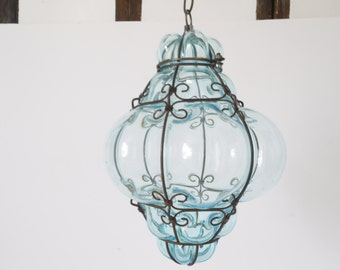 Vintage 1960s Crystal blue Hand Blown  Murano Glass Cage Pendant Light