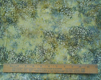 Marbled Green Brown Cream Flowers 1 Yard Bali Batik Quilting Cotton Fabric