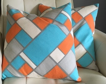 Beach Pillow Cottage Pillow Orange Turquoise  Pillow Cover // Beach Decor // Coastal Decor // Beach House Decor