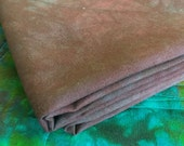 Hand Dyed Chocolate Brown and Turquoise 100% Cotton Fabric - 1 Yard
