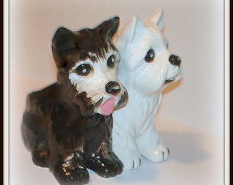 Cute Dog Planter Scottie and Terrier Black & White Smaller Size Ceramic Expressive Faces Bright Eyes