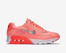 Crystal Nike Air Max 90 Ultra Essential Bling Shoes Women\u0026#39;s Ocean Fog/ Voltage Green/