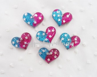 5pcs - Stars in Glittery Hearts Mix Decoden Cabochon (29x22mm) HRM013