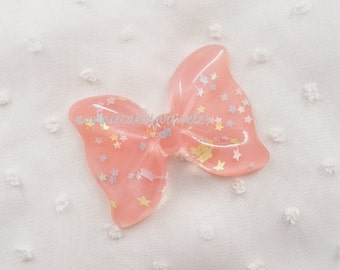 1pc - Large Blush Pink Confetti Ruffle Bow Decoden Cabochon (54x40mm) BL10021