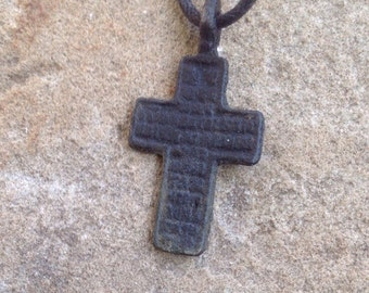 Very old copper cross necklace