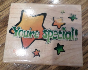 You'Re You Are Special With Twinkle Stars Wooden Rubber Stamp