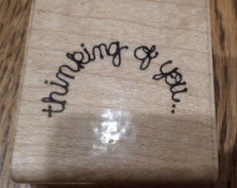 Thinking Of You Dots  Wooden Rubber Stamp