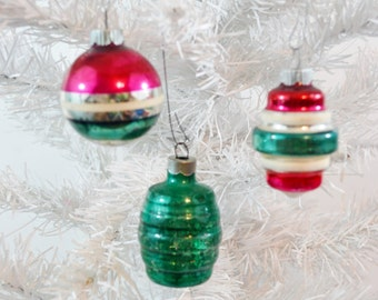 Vintage Christmas Ornaments Striped Red Green Silver Lanterns  Shiny Brite Set of 3 Three 1950's
