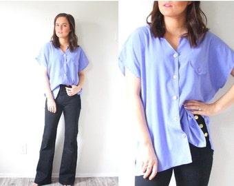 20% OFF BIRTHDAY SALE Vintage oversized purple blouse // button down boxy blouse // loose slouchy fit blouse // Boho blouse top purple // bo