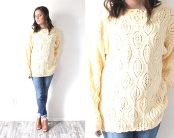 Vintage yellow oversized sweater // cable knit sweater // boho navajo sweater dress // light yellow // knit jumper sweater // winter sweater