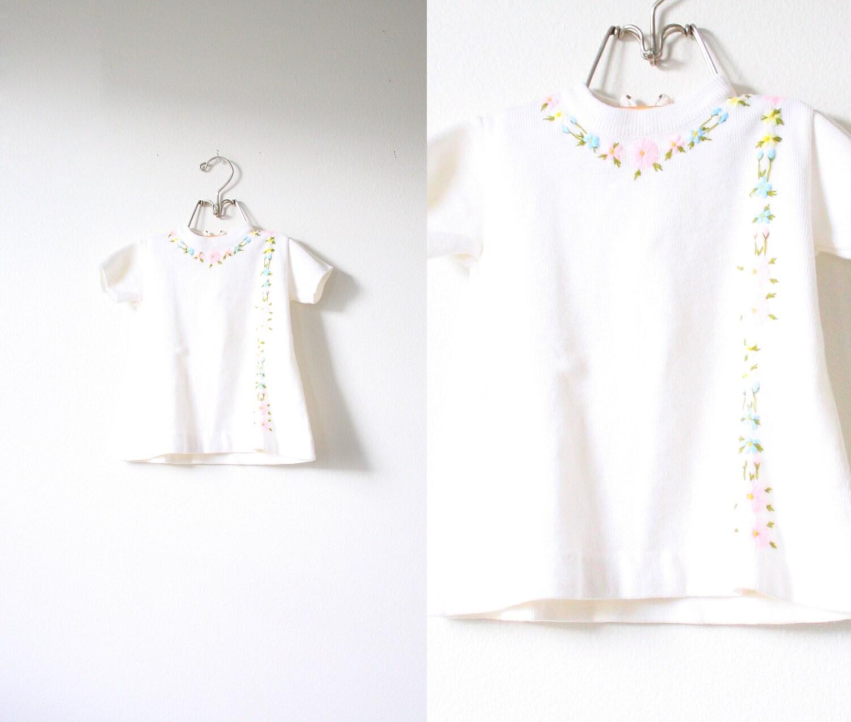 Vintage Little Baby Girls Floral Pastel Dress 1960s Sweater