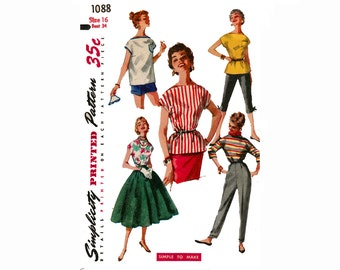 Simple to Make 1950s Blouse Over-Blouse Bateau neckline Beach Tunic Boatneck Top Vintage 50s Sewing Pattern Simplicity 1088 Size 16 Bust 34