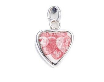 Broken China Jewelry Johnson Bros. Strawberry Fair Red White Sterling Charm