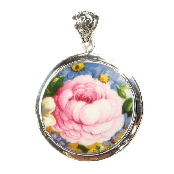 Broken China Jewelry Lady Carlyle Pink Rose and Flowers Close Up Sterling Circle Pendant