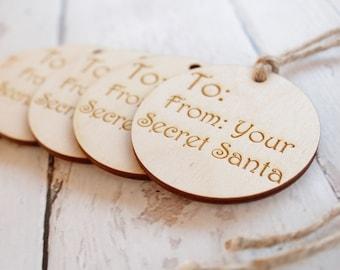 Secret Santa Gift Tag Christmas Gift Tag Wood Gift Tag Engraved Gift Tag