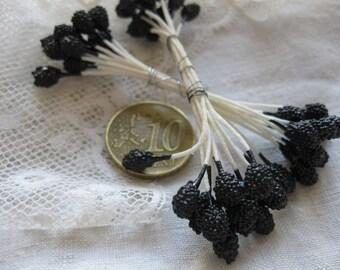 Blackberry Vintage Millinery Stamens Mini Fruit Ballotini French Artificial Silk Flowers Ribbon Work MillineryJewellery Trim Doll Hats 18Ps