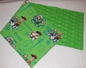 Quilted Handmade Toy Story Table Dresser Runner Buzz Lightyear Woody Space Green Kids room Disney