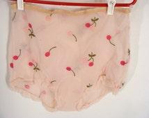 vintage 50s Embroidered Cherries Bonwit Teller Eye Ful Flaums Pink Double Nylon Chiffon Sheer High Waist Panties size M Medium