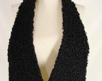 vintage 40s 50s Black Curly Lamb Collar Scarf