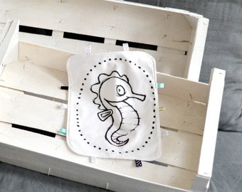 Lovey with SEAHORSE Baby Taggy Taggie blanket Baby comforter Comfort blanket Sleep cloth  White black Scandinavian style Monochrome
