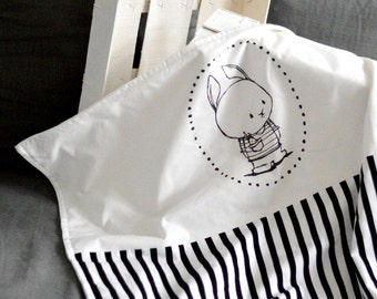 Limited edition handprinted baby blanket with my own graphics Babyblanket Printed Printing Rabbit bunny Black white Scandinavian style